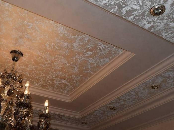 Один из оригинальных видов отделки потолков - декоративная штукатурка