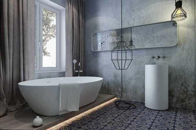 В качестве альтернативы плитке в ванной можно использовать декоративную штукатурку
