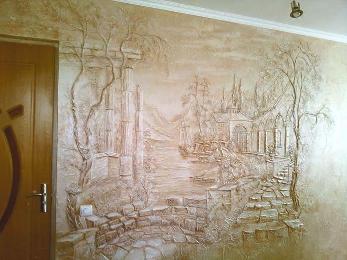 Фактурный рисунок на стене