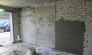 Цементная штукатурка внутри гаража - отличное решение для выравнивания