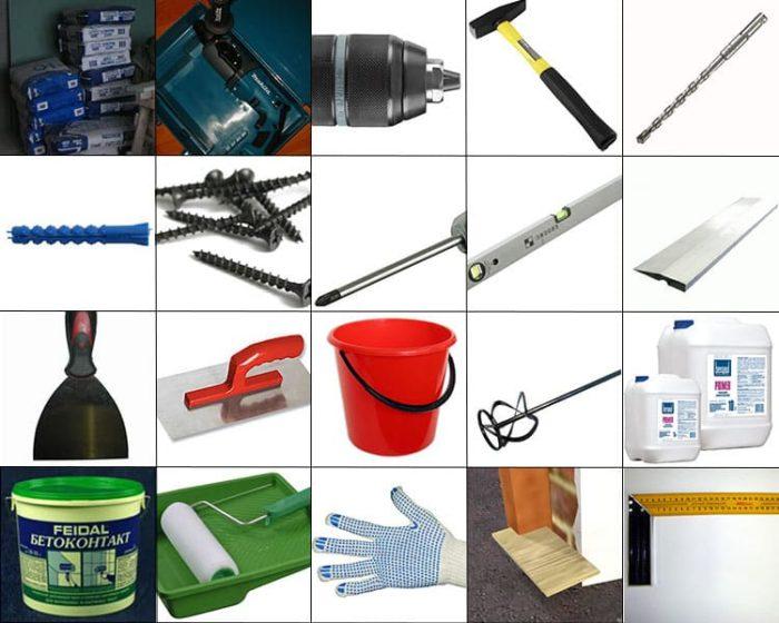 Инструменты и некоторые материалы, которые могут понадобиться при оштукатуривании ГКЛ