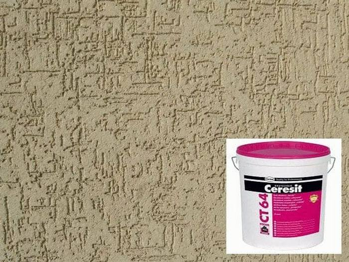 Нанесенная на стену полимерная штукатурка Ceresit СТ 64