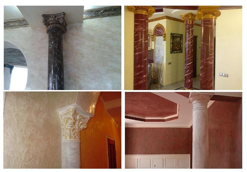 Венецианской штукатуркой отделывают не только стены и потолки, но и элементы интерьера