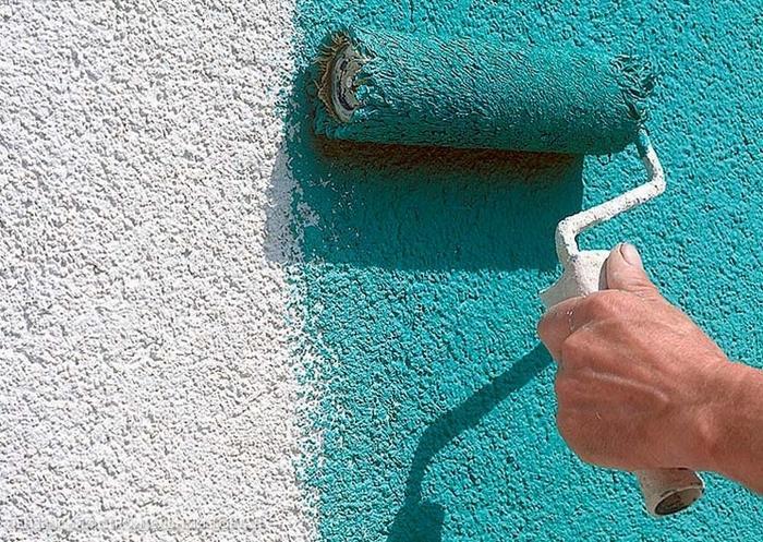 Цвет штукатурки можно изменить с помощью окрашивания