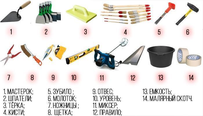 Перед тем как приступить к работам, следует подготовить нужные инструменты