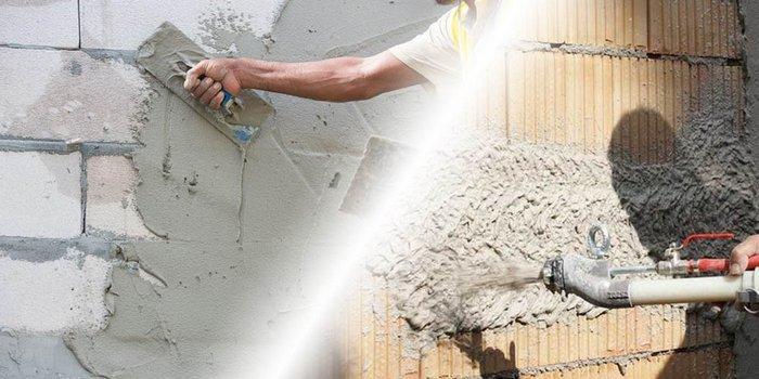 При отделке стен штукатуркой используются механический и ручной способы