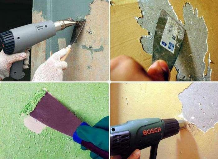 Краску необходимо счистить перед отделочными работами