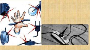 Не прикасаться к электроприборам мокрыми руками, а сами инструменты держать в хорошо защищенном от воды месте