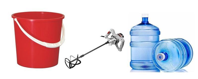 Необходимые инструменты для разведения штукатурки