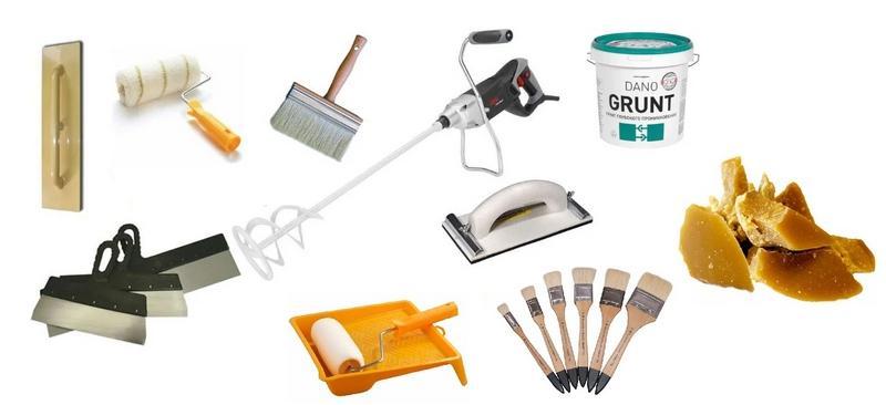 Необходимые инструменты для нанесения венецианской штукатурки