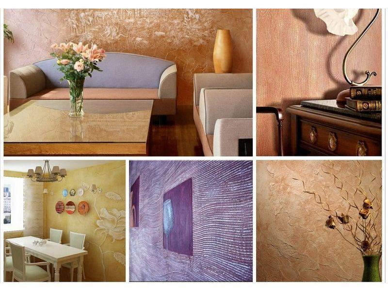 С помощью декоративной шпаклевки можно скрыть изъяны на стене и создать рельеф с различной фактурой