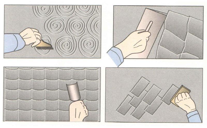 С помощью инструментов для шпаклевки можно получить различные оригинальные рисунки
