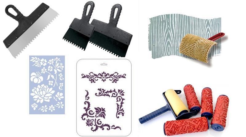 Трафареты и инструменты, предназначенные для нанесения декоративной штукатурки