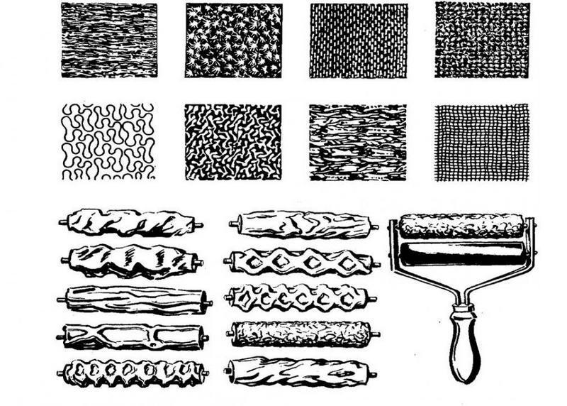 Для нанесения декоративной штукатурки используют фактурные валики
