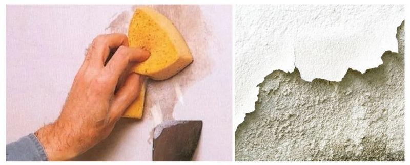 Для снятия штукатурки поверхность стены смачивают водой