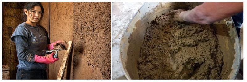 Для выравнивания стен из самана используют глиняный раствор