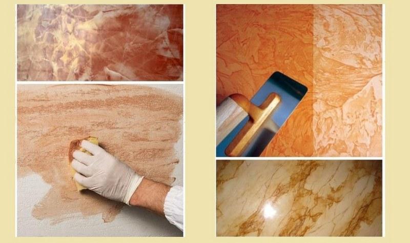 Используя растворы разных оттенков, можно получить натуральную текстуру покрытия