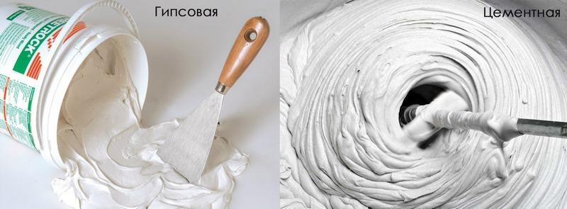 Можно комбинировать цементную и гипсовую штукатурку для получения пластичного, прочного и влагостойкого покрытия