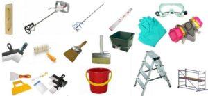 Рабочие инструменты для нанесения декоративной штукатурки