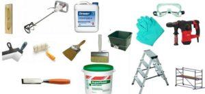Рабочие инструменты для ремонта штукатурки