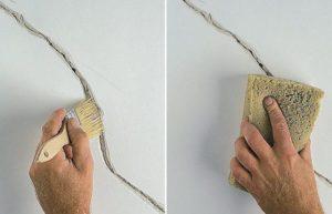 Расширяют контуры трещины и грунтуют проблемную зону