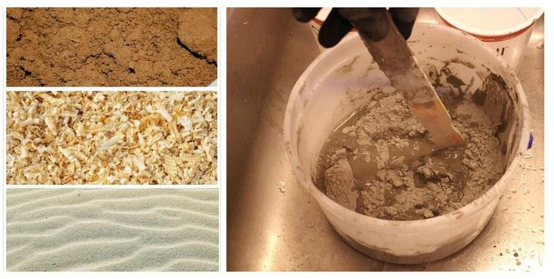 Раствор для первого слоя штукатурки готовят из смеси древесных опилок, речного песка и глины