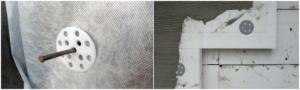 Шляпки дюбелей должны плотно прилегать к утеплительным плитам