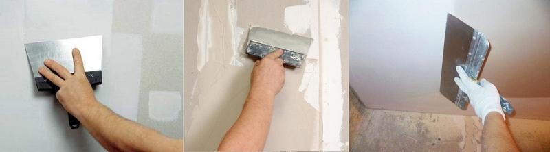 Шпатель при шпаклевке стен следует держать под прямым углом