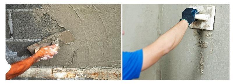 Цементная штукатурка хорошо подходит как для наружных, так и для внутренних работ