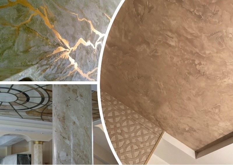 Венецианскую штукатурку используют для отделки стен, потолков и отдельных декорирующих элементов в интерьере