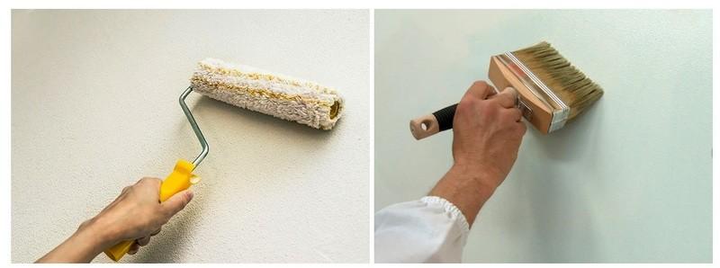 Грунтовку наносят кистью или валиком