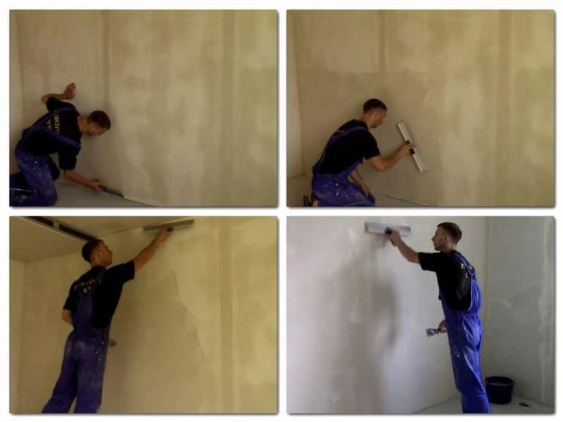 На оштукатуренные стены стартовая шпаклевка наносится в 3 подхода