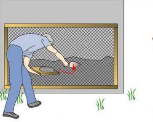 Нанесение штукатурки через сетку