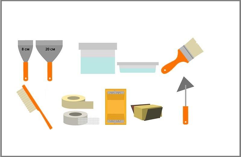 Необходимые инструменты и материалы для заделки трещин