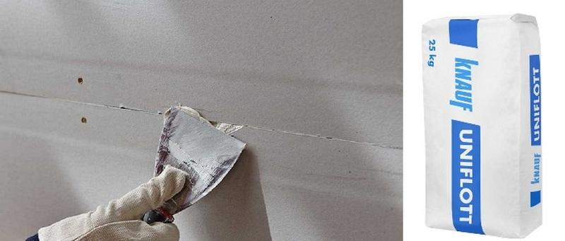 Обрезанные гипсокартонные швы шпаклюют смесью Knauf Uniflot