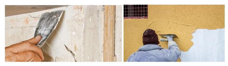 Отделка фасада штукатуркой производится после ремонта поврежденных участков на стенах или цоколе