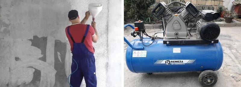 Полумеханический метод нанесения шпаклевки требует наличия компрессора или нагнетательного бака