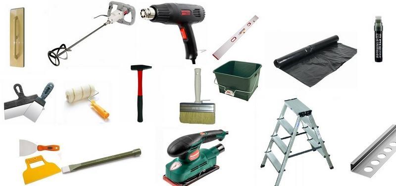 Рабочие инструменты для нанесения известковой штукатурки