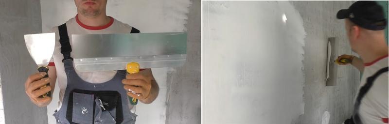 Шпаклевание с использованием основного и вспомогательного шпателей