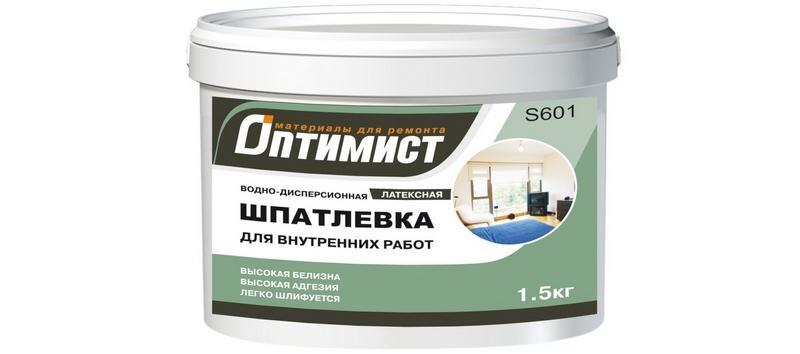 Шпаклевка «Оптимист» предназначена для внутренней отделки в сухих помещениях