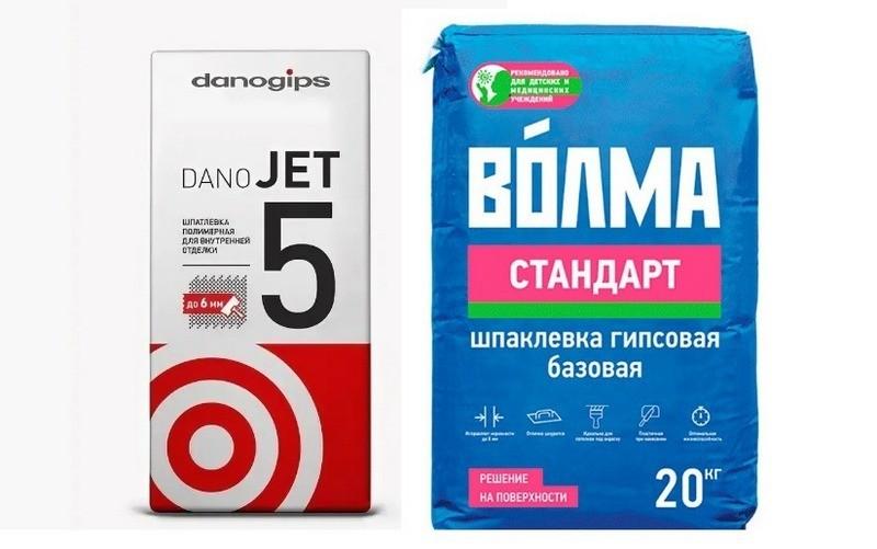 """Шпаклевки: """"Danogips Dano Jet 5"""" и """"Волма Стандарт"""""""
