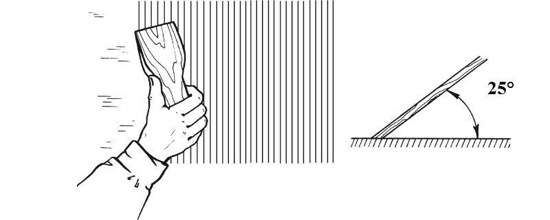 Шпатель располагают под углом в 25° к основанию обрабатываемой поверхности