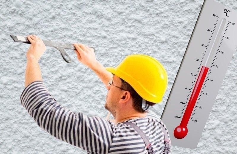 Штукатурные работы следует проводить в температурном диапазоне от +5 ºС до +30ºС