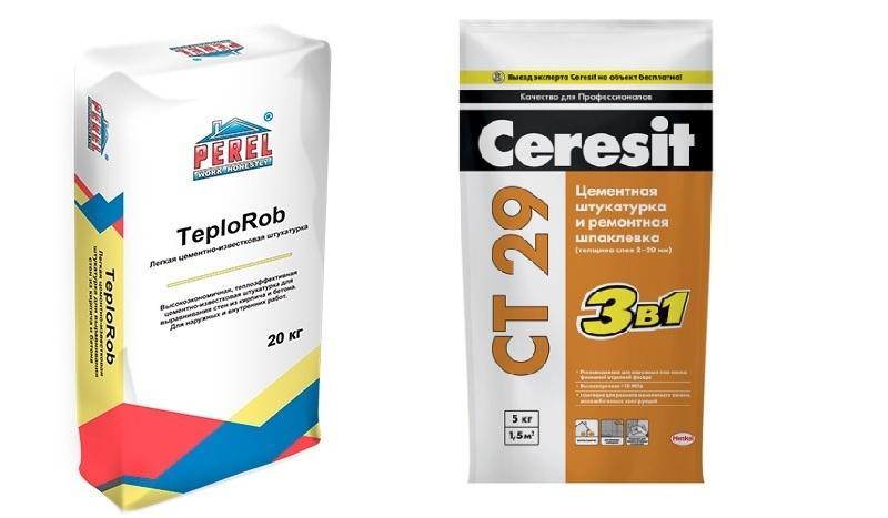 Штукатурные составы Perel teplorob и Ceresit ct 29