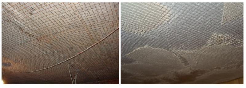 Сетку можно крепить на потолок с помощью гвоздей или штукатурки