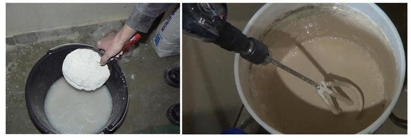 Сухую штукатурку насыпают в воду небольшими частями, размешивая строительным миксером