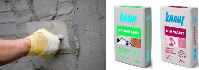 Цементные смеси можно использовать для уличных работ, так как штукатурка обладает водо- и морозоустойчивостью
