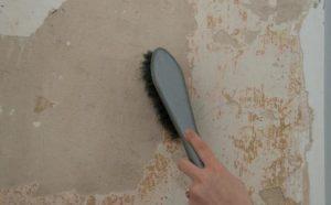 Жёсткой кистью убирают пыль и крупные осыпающиеся частицы