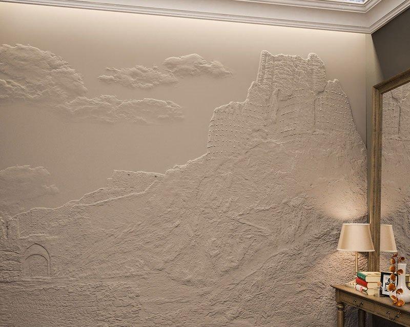 Декоративная штукатурка часто используется для создания декоративных элементов интерьера, например, барельефов