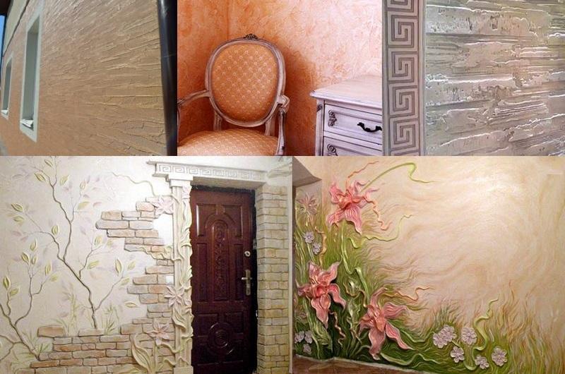 Декоративная штукатурка применяется как при проведении наружных отделочных работ, так и при оформлении поверхностей внутри помещений